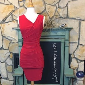 Soprano all over ruched red dress